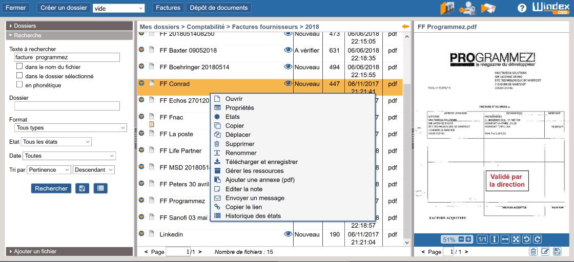 Fonctionnalités du logiciel Windex GED