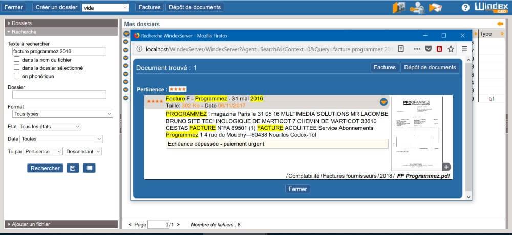 Indexation plein-texte et moteur de recherche de Windex GED